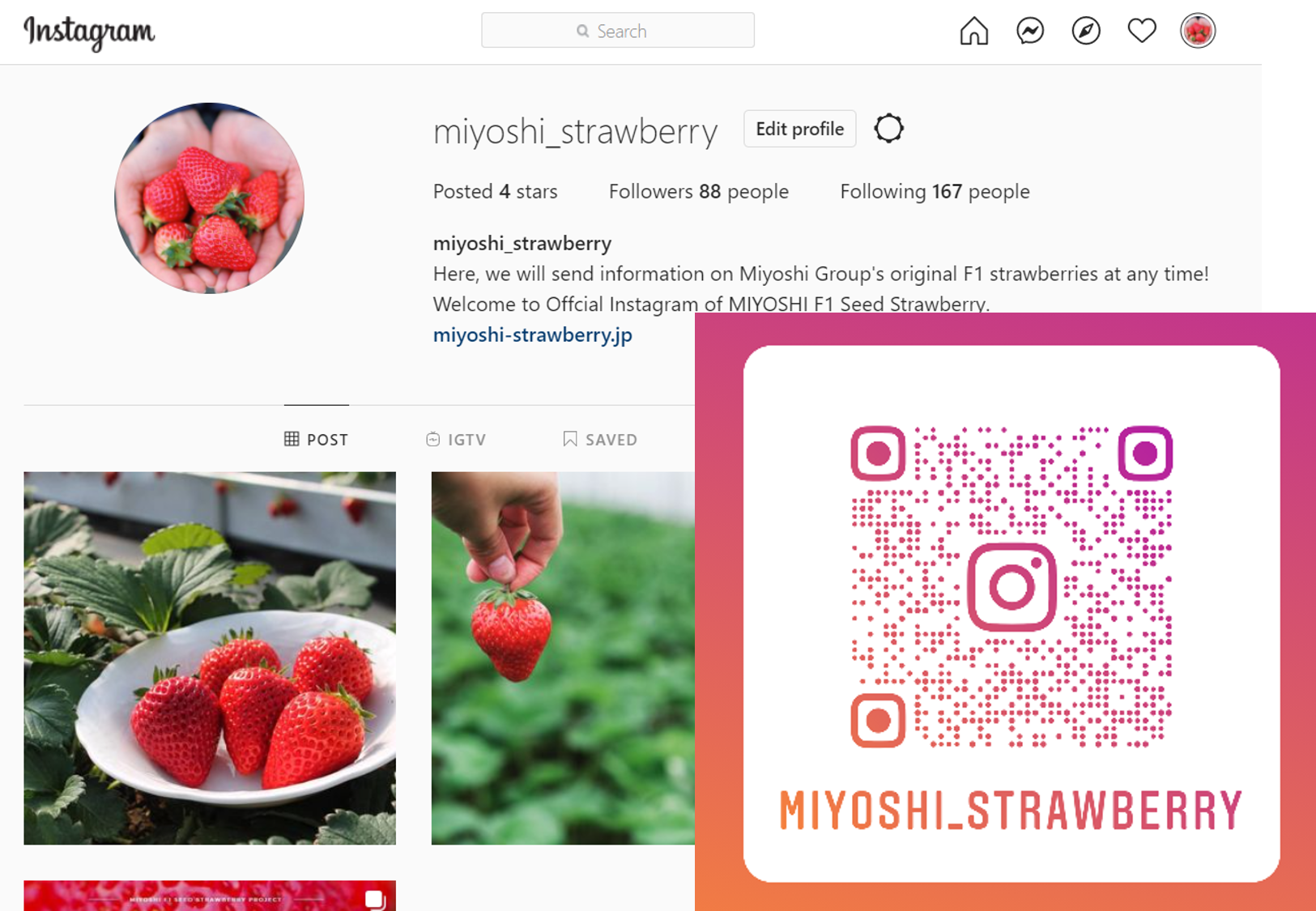 The official Instagram starts showing MIYOSHI strawberry world.